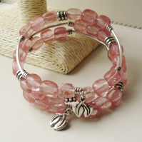 Wrap Around Memory Wire Bracelet Pink Cherry Quartz Bead Silver  KCJ1573