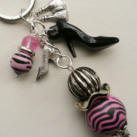 Keyring Bag Charm Bright Pink Black Zebra Print Shoe Handbag  KCJ1585