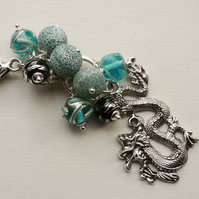 Handbag Charm Turquoise and Black Bead Tibetan Silver Dragon Themed  KCJ1581