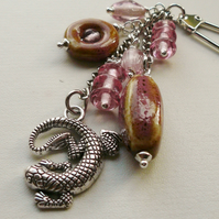Handbag Charm Pink Ceramic and Glass Bead Silver Lizard Gecko Themed  KCJ1587