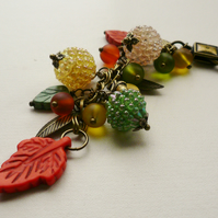 Handbag Charm Antique Bronze Orange Yellow Green Leaf and Berry Themed   KCJ1583