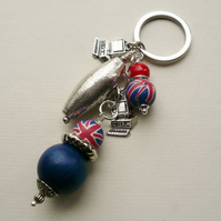 Keyring Red and Blue Union Jack Beaded Tibetan Silver Computer Themed   KCJ1600