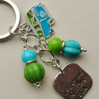 Keyring Bag Charm Blue and Green Camper Van  KCJ1601