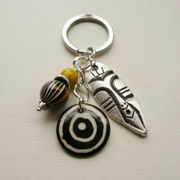 Keyring Bag Charm Black Yellow Bead Tibetan Silver Tribal Mask KCJ1593