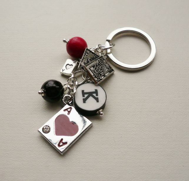 Keyring Black and Red Beaded 'Ace of Hearts'   KCJ1596
