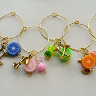 Wine Glass Charms Multicoloured Fruity Bead Gold Tone Cocktail Glass  KCJ1611