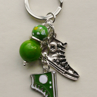 Keyring Bag Charm Green Bead Baseball Boot Shoe Themed  KCJ1607