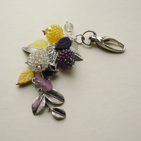 Handbag Charm Silver  Purple Cream Yellow Leaf and Berry   KCJ1610