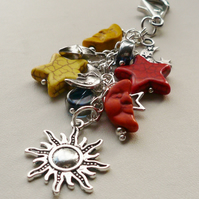 Bag Charm Yellow Orange Howlite Blue Glass Moon Star Celestial Themed  KCJ1606