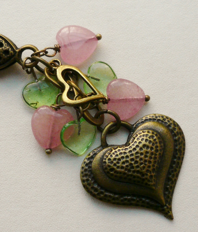 Handbag Charm Green and Pink Antique Bronze Heart Themed  KCJ1622