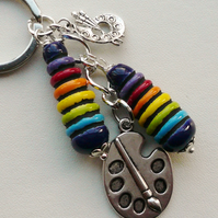 Keyring Bag Charm Multicoloured Ceramic Artist Painter Palette Themed   KCJ1625