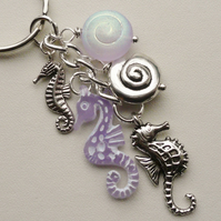 Keyring Bag Charm Lilac Purple and Silver Beaded Seahorse Shell  KCJ1647