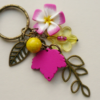 Keyring Pink and Yellow Antique Bronze Flower and Leaf Themed  KCJ1631