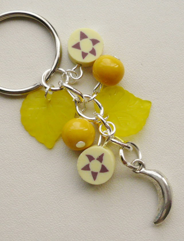 Keyring Yellow Mixed Bead Banana Themed    KCJ1633