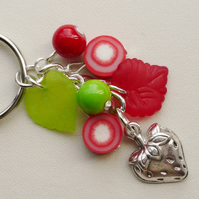 Keyring Red and Green Mixed Bead Strawberry Themed    KCJ1634