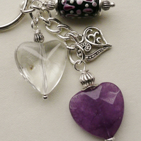 Keyring  Purple Agate Clear Glass Beaded Heart Themed  KCJ1665