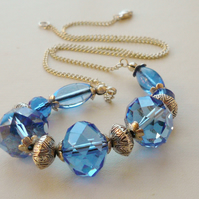 Collar Necklace Blue Clear Faceted Glass Bead   KCJ316