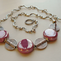 Collar Necklace Pink Ceramic Bead and Tibetan Silver Disc    KCJ401