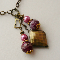 Cluster Necklace Antique Bronze and Pink Glass Bead   KCJ338
