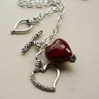 Pendant Necklace Red Glass and Silver Heart    KCJ511