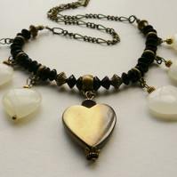 Collar Necklace Bowenite Heart Antique Bronze    KCJ603