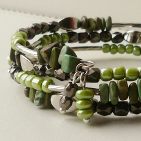 Bracelet Memory Wire Wrap Green Grey Glass Magnesite Silver Tube Bead  KCJ1668