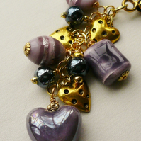 Handbag Charm Purple and Dark Blue Glass Bead Gold Tone Heart Themed  KCJ1664