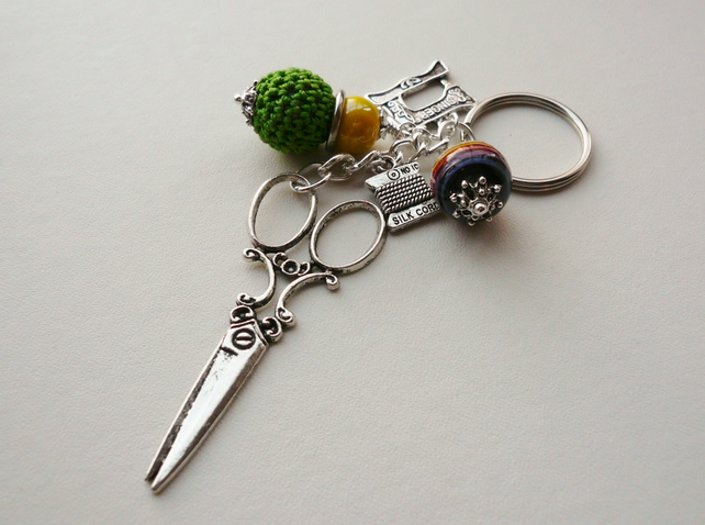 Keyring Bag Charm  Ceramic Bead Dressmaker Sewing Themed   KCJ1656
