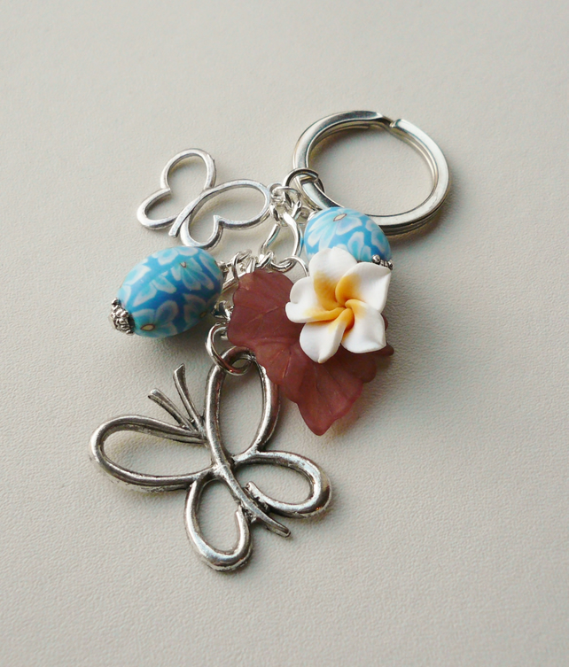 Keyring Blue and Cream Clay Polymer Bead Silver Butterfly Flower Themed KCJ1661