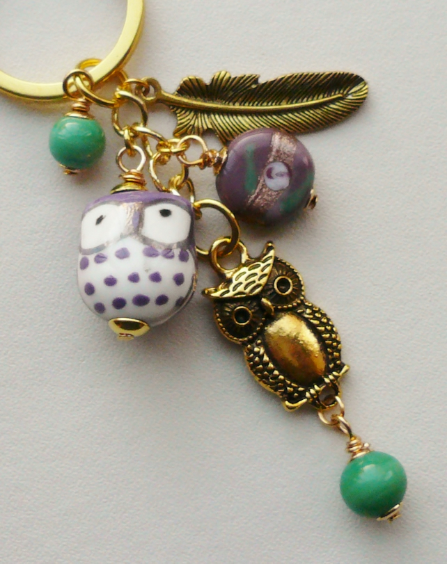Keyring Purple Green and Gold  'Little Owl'  Themed   KCJ1662