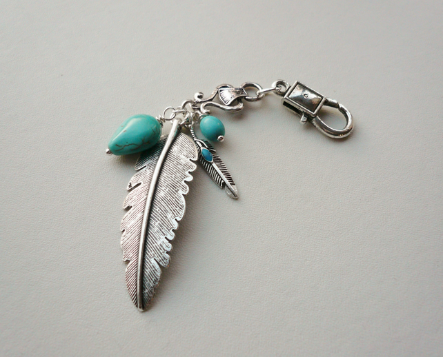 Handbag Charm Turquoise Howlite  Feather Themed   KCJ1659