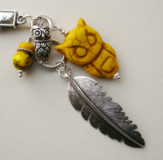 Handbag Charm Yellow Howlite Owl and Feather Themed   KCJ1660
