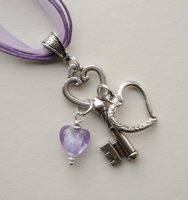 Pendant Cluster Necklace Lilac Glass and Silver Heart and Key    KCJ1655