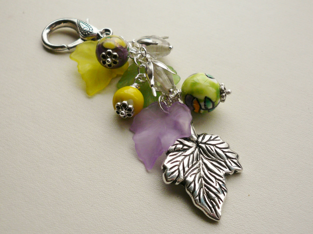 Handbag Charm Green, Purple and Yellow Silver Leaf and Flower Themed  KCJ1666