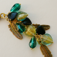 Handbag Charm Teal Green Black Glass Bead Gold Tone Heart  Feather Theme KCJ1669