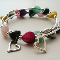 Wrap Around Memory Wire Bracelet Agate and Haematite Heart Bead KCJ1671