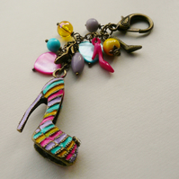 Bag Charm Multicoloured Bead Antique Bronze Stiletto Shoe Themed  KCJ1670