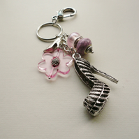 Handbag Charm Pale Pink Bead Silver High Heel Shoe Themed  KCJ1671