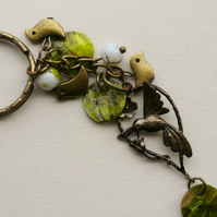 Keyring Bag Charm Green Shell Bead Antique Bronze Bird Themed KCJ1667