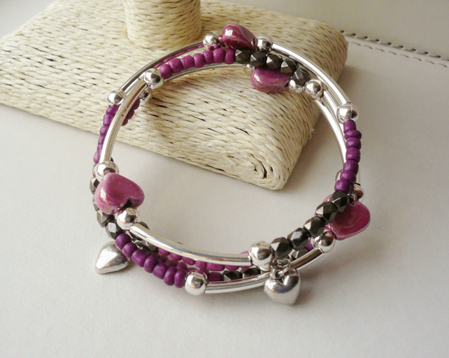 Bracelet Memory Wire Wrap Around Pink Tones and Smokey Grey Bead KCJ1682