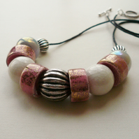 Collar Necklace Pink White and Grey Ceramic Rondelle Bead   KCJ1702