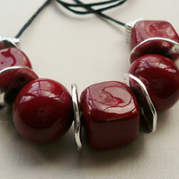 Collar Necklace Deep Red Handcrafted Ceramic Beaded Silver Disc  KCJ1704