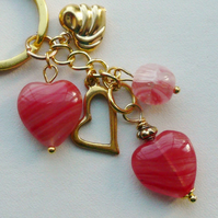 Keyring Soft Red Czech Glass Beaded Gold Tone Heart Themed  KCJ1684