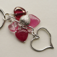 Keyring Soft Pink Glass Agate Mixed Bead Silver Heart Themed  KCJ1686