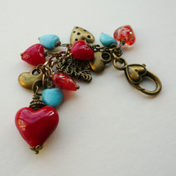Handbag Charm Red and Turquoise Antique Bronze Heart Themed  KCJ1685