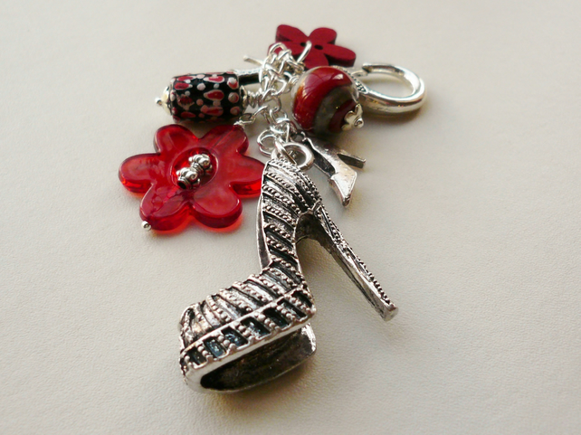 Handbag Charm Red and Silver High Heel Shoe Stiletto Themed  KCJ1694