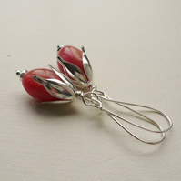 Dangle Earrings Cherry Quartz Drop Silver   KCJ1707