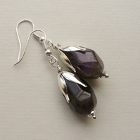 Dangle Earrings Purple Amethyst Faceted Nugget Drop Silver   KCJ1710