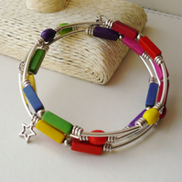 Bracelet Memory Wire Wrap Around Rainbow Howlite and Silver Tube Bead  KCJ1721