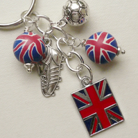Keyring Red and Blue Union Jack Beaded Silver Football Themed   KCJ1752